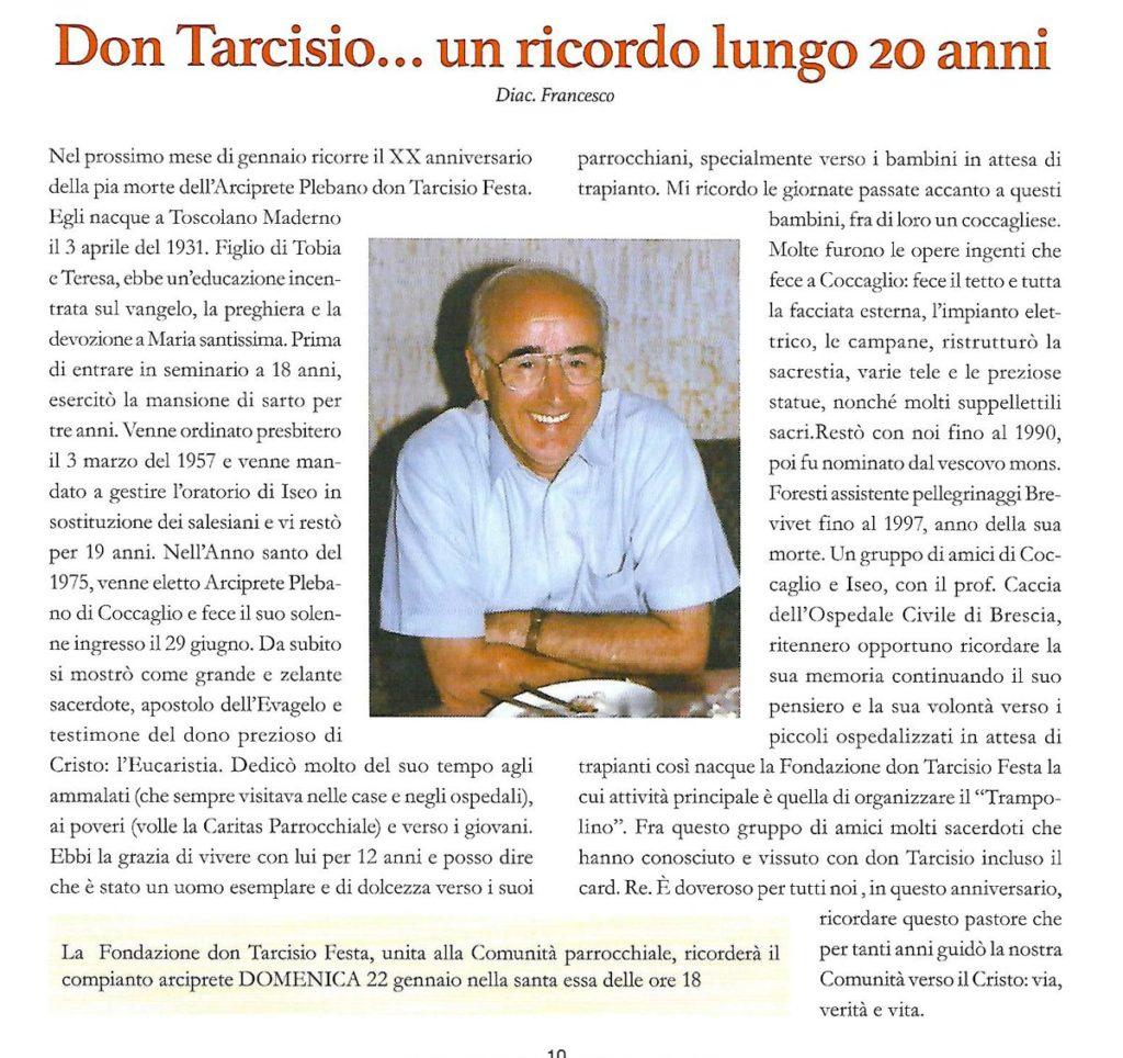 Don Tarcisio … un ricordo lungo 20 anni